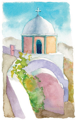 Blue Domed Church on the Caldera, Santorini, Greece