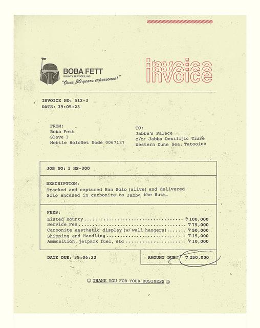 Boba Fett's Invoice to Jabba The Hutt