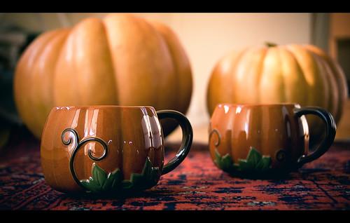 Pumpkin mugs from Starbucks
