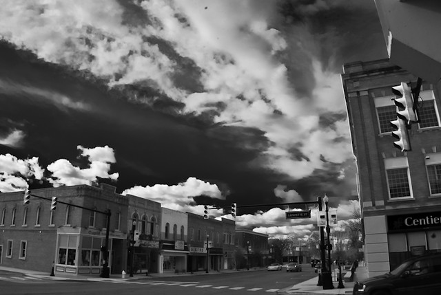 Wide angle shot with BW processing of Lincolnway Lafayette Street Valpo