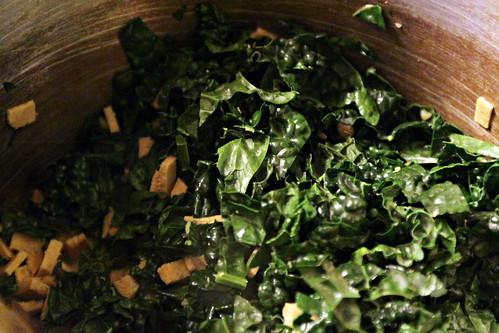 Saute kale and vegi ham