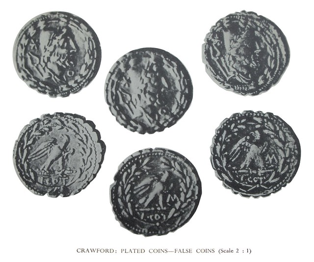 314-1 plated left with two good-silver right and centre examples of a denarius of L.COT