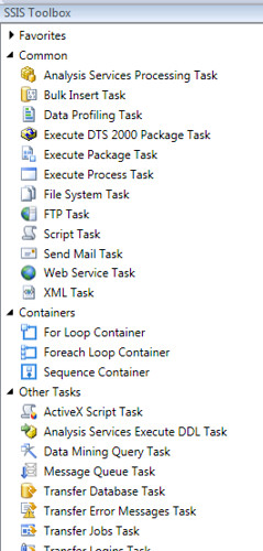 SSIS ToolBox ControlFlow