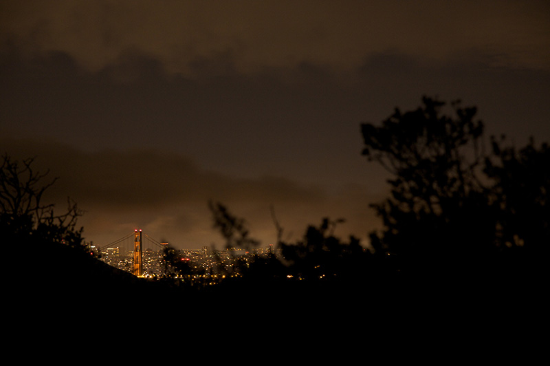 golden gate from headlands by night