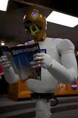 Robonaut Space Robot Reading a Magazine -Self conscious robot?