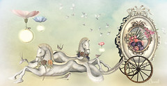 The Resting Place (Jewel Appletor aka Karalyn Hubbard) Tags: horse seahorse carriage pearls flowers butterflies swallow floating lamps resting art artist artwork photo photograph pixlperfectphotography whimsical illustration inspiration birds mirror wagon lode anc meadowworks air