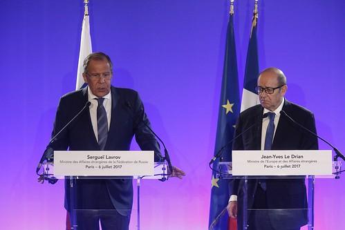 Заявление Министра иностранных дел России С.В.Лаврова по итогам переговоров с Министром Европы и иностранных дел Франции Ж.-И.Ле Дрианом, Париж, 6 июля 2017 года
