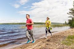 runners on the beach of a lake (VisitLakeland) Tags: finland lakeland juosta run sport forest nature jogging lenkkeily hölkätä lake järvi beach shore ranta hiekka aalto