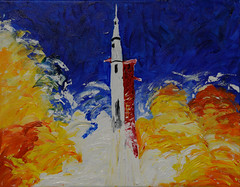 Apollo 8 Launch (BKHagar *Kim*) Tags: bkhagar rocket launch apollo8 apollo night saturnv impressionistic expression art artwork artday painting paint acrylic texture motion space science aeronautics nasa