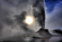 CASTLE GEYSER SUNRISE (Michael dawn2dawnphotography) Tags: morning sky sun sunrise dawn nationalpark cone oldfaithful steam yellowstone wyoming geyser erupt geothermal thermal eruption castlegeyser
