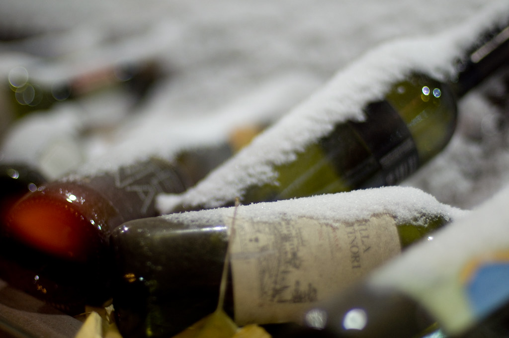 wine bottles in snow.
