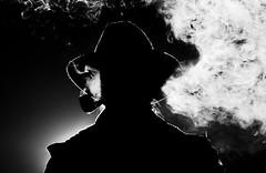 Chris Snell (Jeremy Snell) Tags: chris light white black cold hat night 50mm farm smoke air pipe puff cigar smoking taste breathe rim tobacco snell strobist