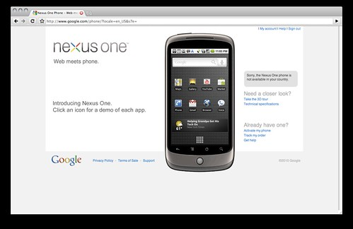 Google Nexus One not available