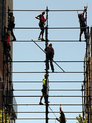 Going up (Roving I) Tags: vertical workers construction scaffolding workmen events sydney silhouettes australia outlines martinplace sydneyfestival
