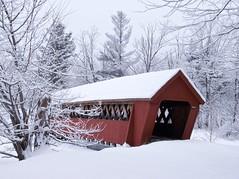 Jack O'Lantern Covered Bridge (jcbwalsh) Tags: bridge trees winter snow jackolantern newhampshire nh covered woodstock redandsnow