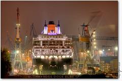 qm2 (manfred-hartmann) Tags: night port germany lights nacht hamburg explore hh hafen qm2 hartmann queenmary2 hdr elbe manfred lichter hansestadt krne werft blohmundvoss dock17