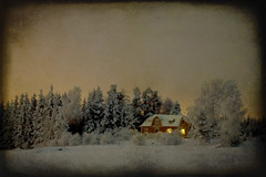 Warm and Cozy (Barry_Madden) Tags: trees winter sunset house snow tree texture home canon suomi finland landscape evening countryside farm textures talvi 2009 koti lappeenranta 50d skeletalmess