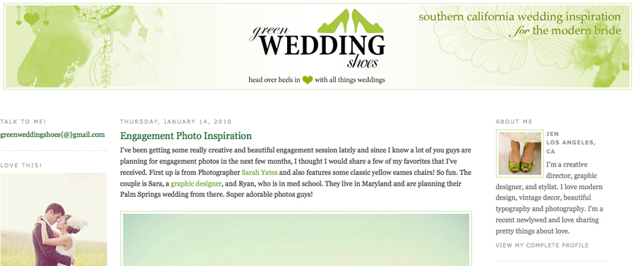 Sara and Todd Featured on Green Wedding Shoes