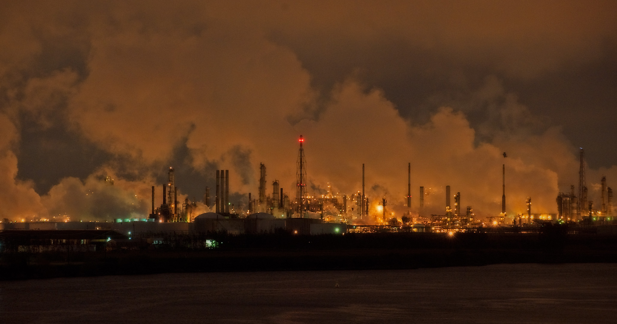 Industrial Landscape At Night Taken On The Houston Ship