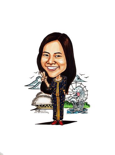 Caricature for Unilever SIA Sarong Kebaya