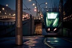 (Adriano Agull) Tags: barcelona street city espaa night noche calle spain bcn tram ciudad nocturna catalunya tunel catalua tranvia vias nikond90