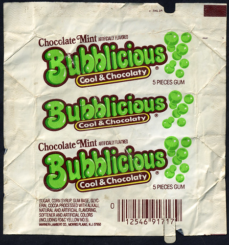 Chocolate Mint Bubblicious - Cool & Chocolaty - bubble gum package wrapper - 1980's