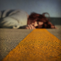 road games (::fotorosso::) Tags: road sky sunlight selfportrait me girl yellow square death 50mm bokeh sleep cement stripe dry squareformat redhair fiddy parched bsquare layingintheroad 525oftwentyten 525of2110