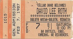 02/07/87 David Lee Roth/Tesla @ Duluth, MN (Ticket)