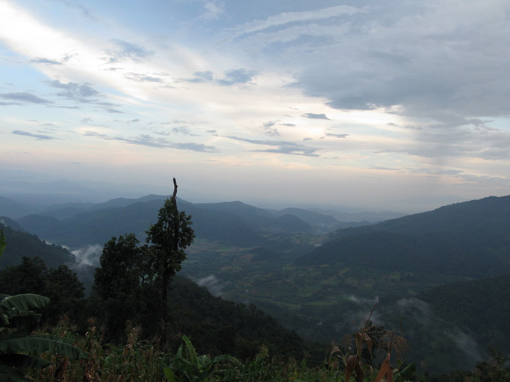 Jungle trekking Chiang Mai, Thailand: The view from our Jungle hut, we just trekked over them