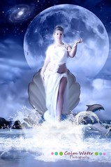 114/365 Aphrodite (OceanBaby-in-SLC) Tags: blue sea portrait woman moon love me water night self greek goddess manipulation pearls dolphins seashell aphrodite 365days photomanipulatoin