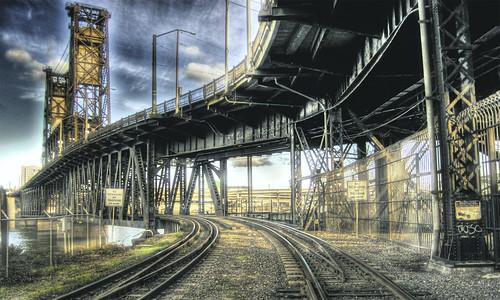 フリー画像|人工風景|建造物/建築物|線路/鉄道|鉄橋|HDR画像|フリー素材|