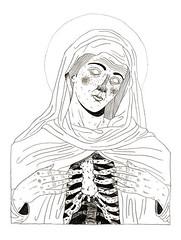 work in progress (pearpicker.) Tags: illustration skeleton drawing halo sacred bones pearpicker