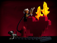 Lego, Me Heart's Afire! (Day 199/365) (debit72) Tags: red dog hydrant toy toys fire fighter heart lego flames valentine burning flame burn fireman blocks firefighter dalmatian day198 firechief duplo project365 198365 365losangeles assignment52052010