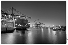 black port (manfred-hartmann) Tags: bw night port germany lights nacht hamburg container hh hafen hartmann schiff hdr elbe manfred lichter hansestadt kräne