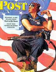 "The Saturday Evening Post with Norman Rockwell's ""Rosie the Riveter"" as cover."