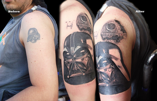 Darth Vader and Deathstar tattoo
