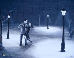 Dance With Me (HannahAradia) Tags: winter light woman snow man tree lamp night dance couple snowy beautyandjoy