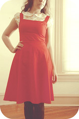 lady in red. (Starr Crow) Tags: red flower girl yellow vintage hair photography dress peterpan tights curly oxford dreamy collar spectator wingtip patterned