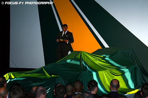 Tony Fernandes greets the crowd at the Lotus F1 Launch