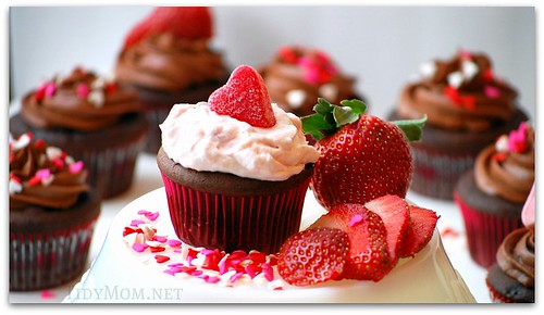 Strawberries & Cream topped cupcake
