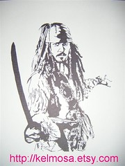 capt sparrow (Large) (Kelmosa) Tags: blackandwhite art silhouette drawing marker celebrities sharpie