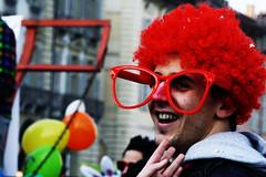 """""""Che occhiali grandi che hai..."""" """"Sono per guardarti meglio!"""" (buCiA) Tags: street red torino glasses italia colours piemonte wig turin rosso colori piedmont occhiali italiy piazzacastello parrucca vabinparade2010"""