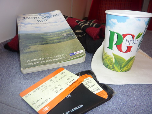 Train ticket, tea, guidebook