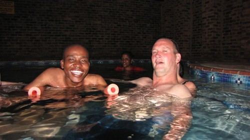 Moses and Barry chilling in the pool