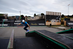 BS royal up and over to fakie (Runar Tufteland) Tags: park sky alex up contrast stavanger norge control helmet royal rail ground f1 skate blade rollerblade formula1 grind gc rogaland valo tasta broskow iblade