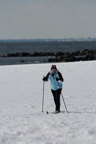 Cross Country Skiing on Brighton Beach