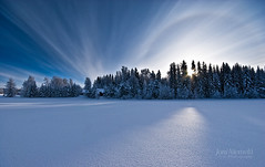 Clouds And Halo (Joni N) Tags: blue trees winter sky cloud sun white snow cold forest finland pentax halo arctic nordic rays scandinavia sigma1020 k10d pentaxk10d
