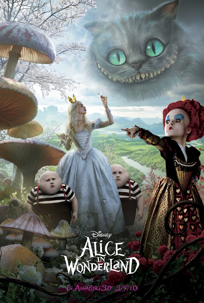 Alice in Wonderland 2010 movie red queen, chesire cat, white queen poster