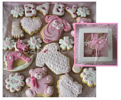 purty in pink (The Whole Cake and Caboodle ( lisa )) Tags: bear pink newzealand baby white flower feet cookies toy foot cookie heart teddy letters wrapped stamp babygirl gift teddybear boxed rockinghorse embossed whangarei onesie caboodle thewholecakeandcaboodle