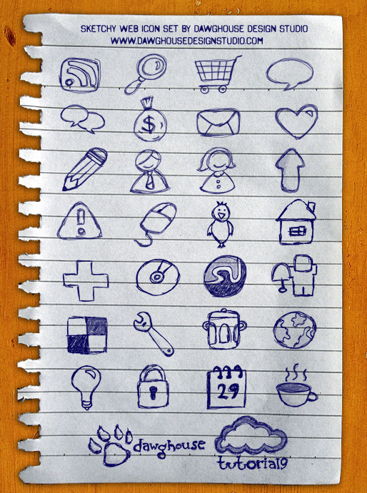 Sketchy Web Icons: 30 Hand Drawn Icon Pack